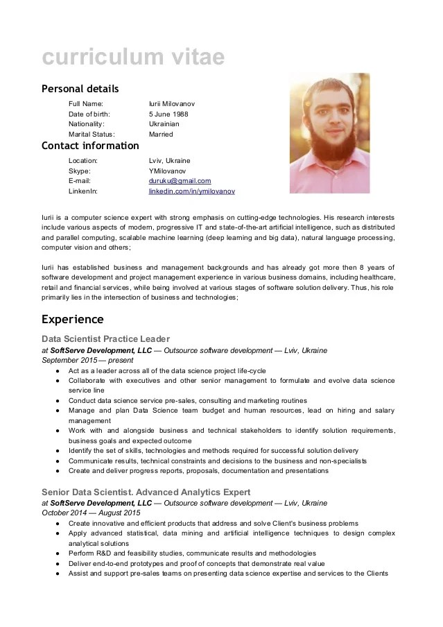 cv data scientist anglais
