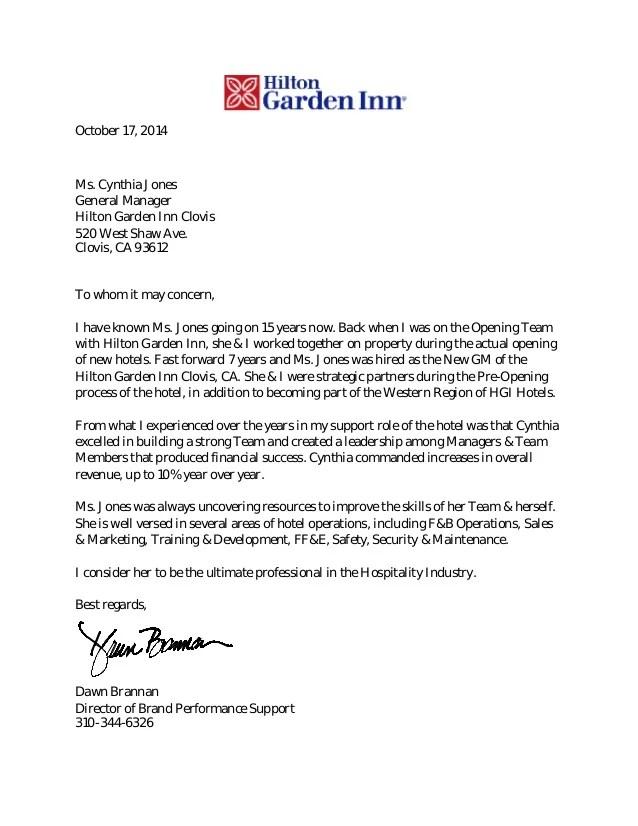 hospitality recommendation letter - Pinarkubkireklamowe