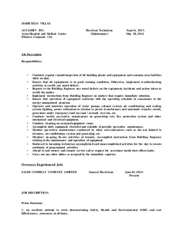 Resume Job Descriptions For Maintenance | Resume Format Examples