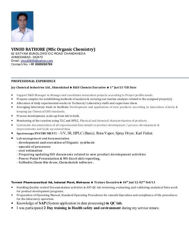 sample chemistry resume