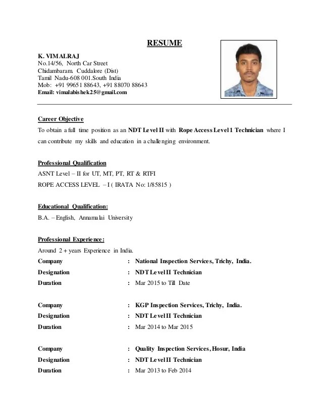 ndt resume format professional ndt trainee templates to showcase
