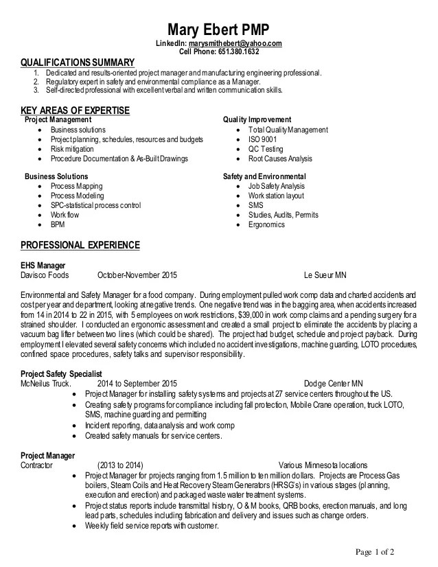 ehs specialist resume sample