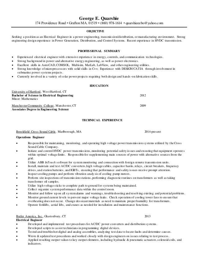 power system engineer resume - Eczasolinf
