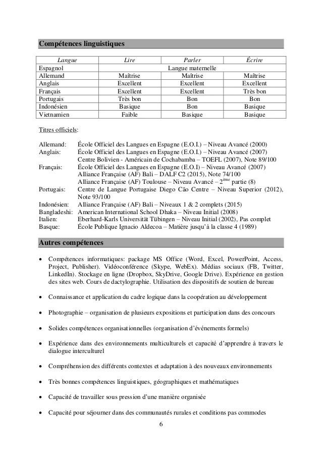 langue francaise niveau cv