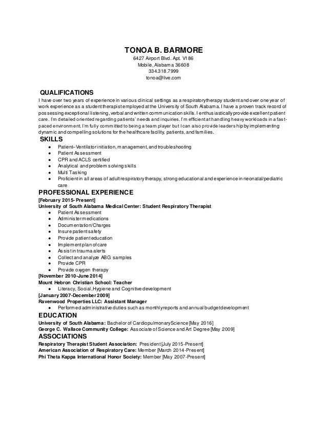 respiratory therapy resume - Romeolandinez