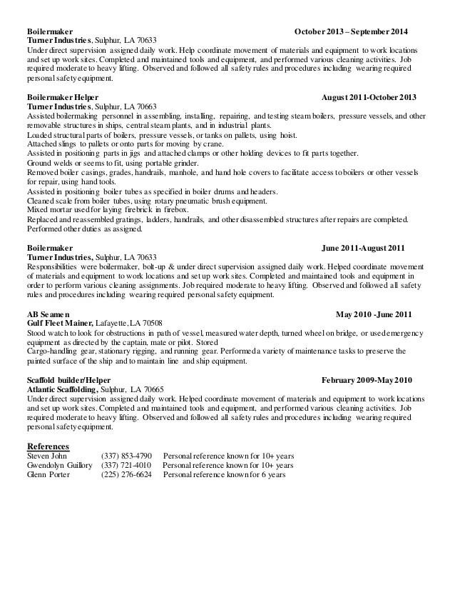 boilermaker helper resume