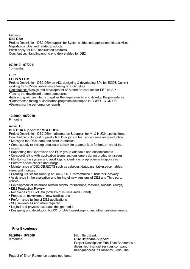 Mainframe Db Dba Resume | Cover Letter Format With Spacing