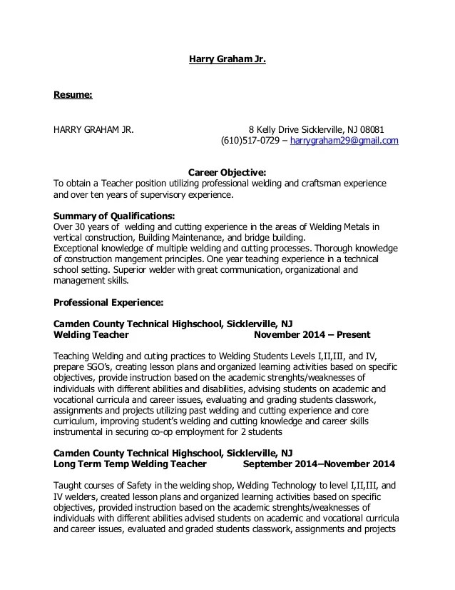 resume sample for teaching position