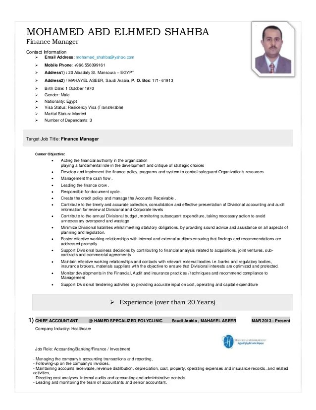 How To Write The Perfect Resume Yahoo Finance Finance Manager Cv 2015
