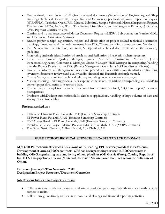 document controller resume format sample