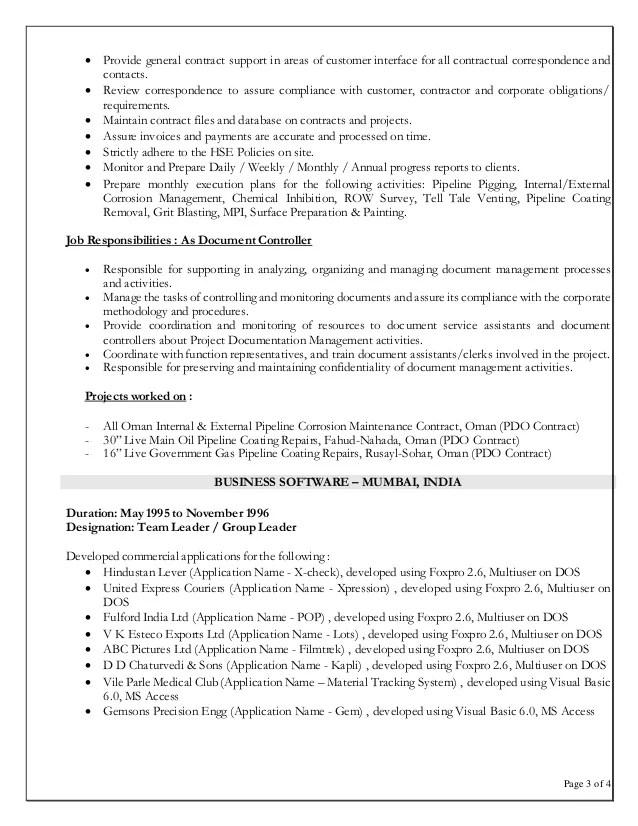 job profile of document controller - Ozilalmanoof - document controller sample resume