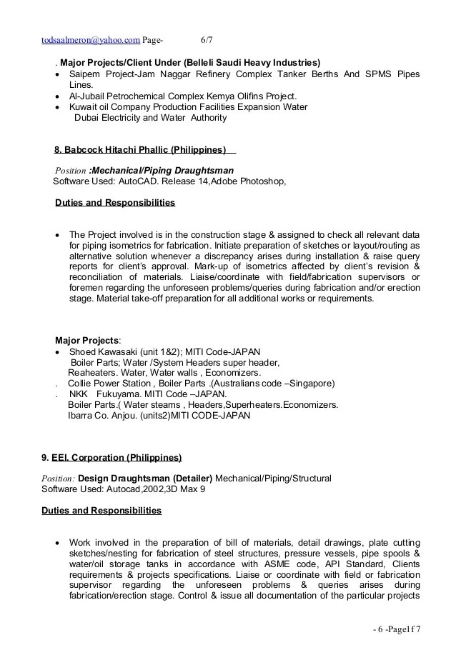 Sample resume for piping draughtsman