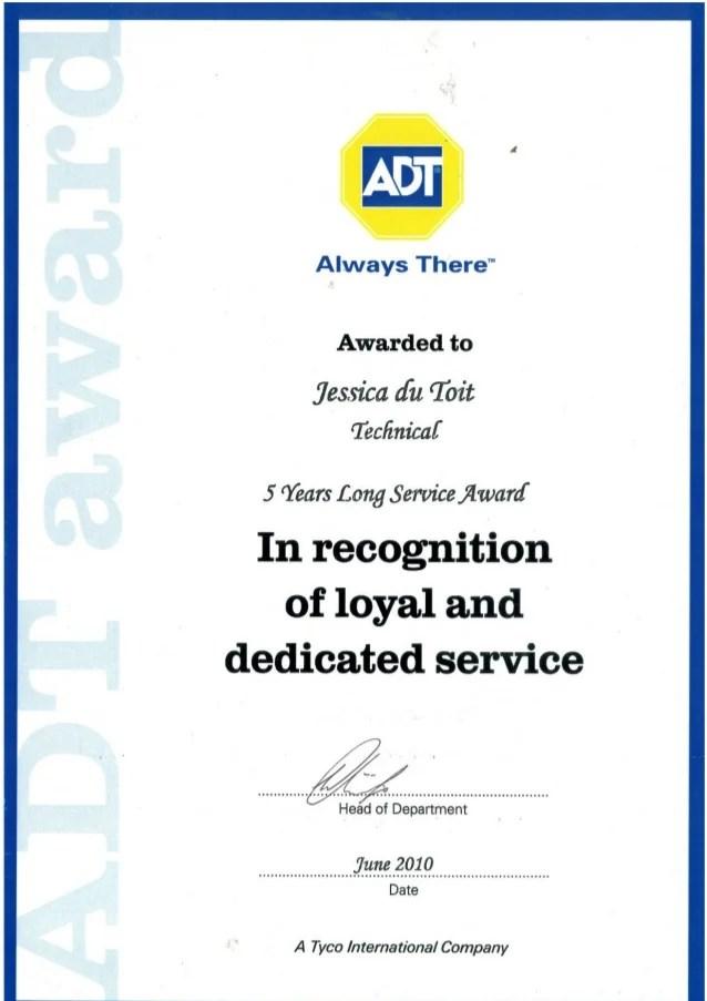 service awards certificate - Ozilalmanoof