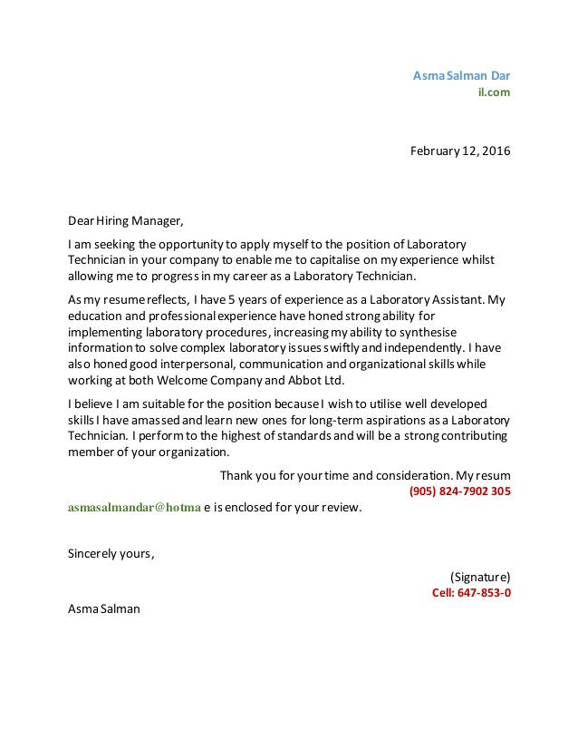Laboratory Technician Cover Letter Example Lab Technician Cover Laboratory  Assistant  Cover Letter For Lab Technician