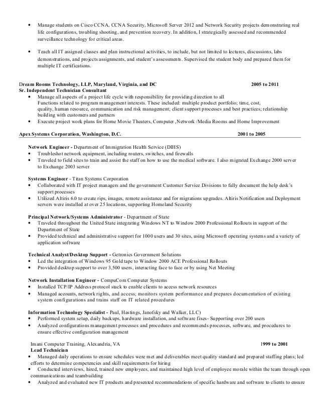 sample network engineering resume best sample resumes radiovkm