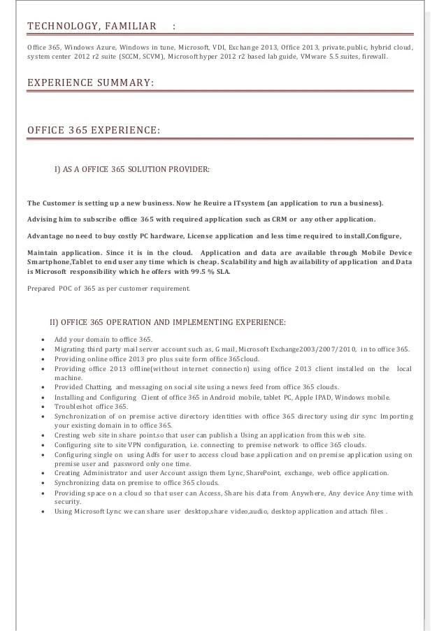 office 365 administrator sample resume