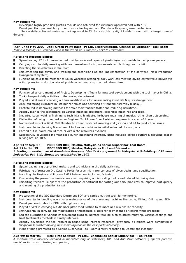 Tool And Die Maker Resume Sample - Contegri - free resume makers