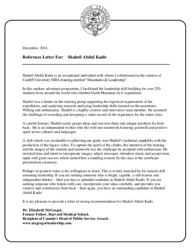 sample recommendation letter for leadership award - Vatoz