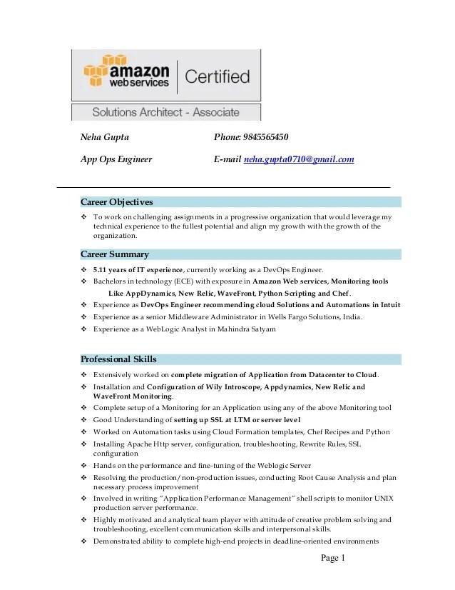 resume sample on aws