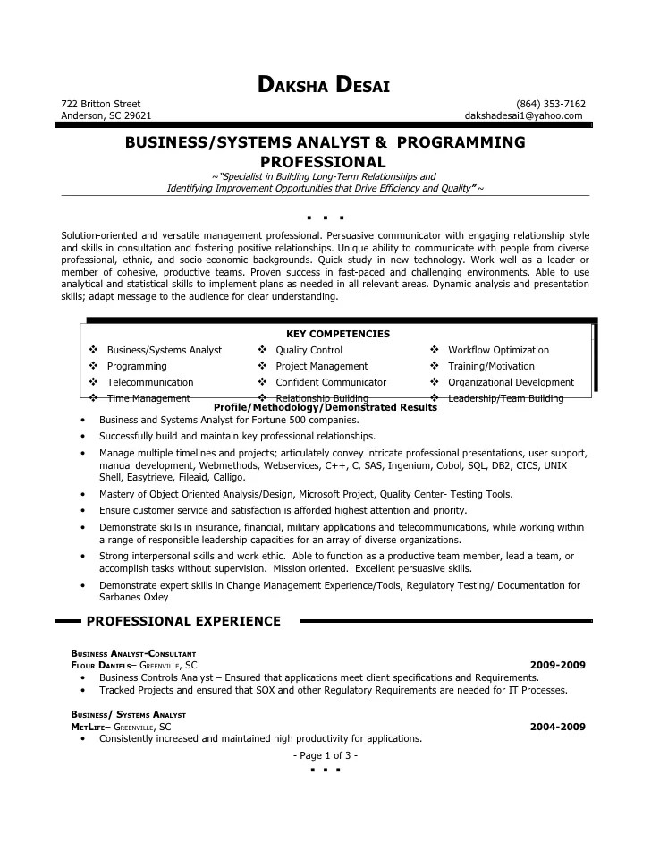 Resume Systems Analyst Resume  Business Analysis Resume