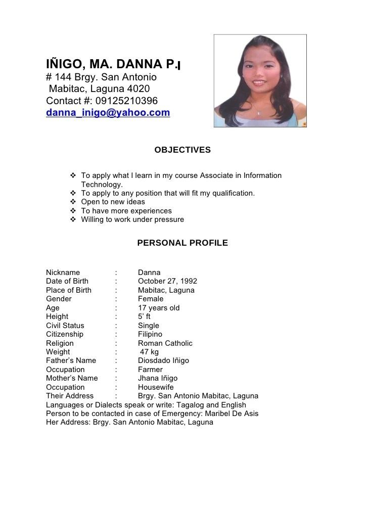 resume objective sample philippines