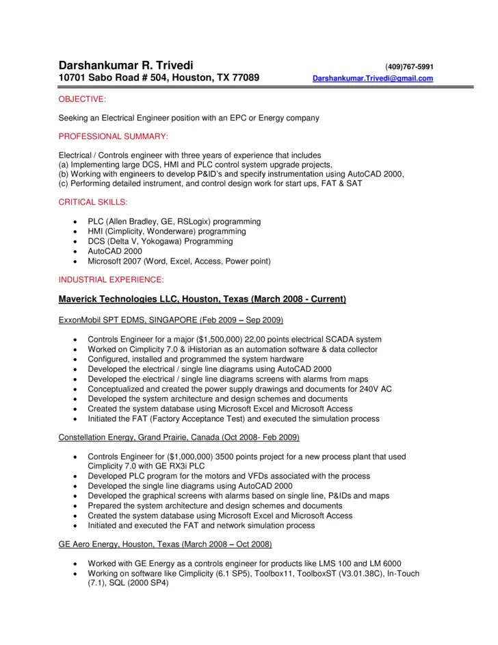 control engineer resumes - Onwebioinnovate - process engineer sample resume