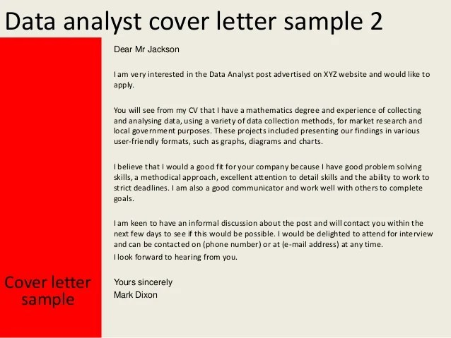 Resume Cover Letter Samples Of Resume Cover Letters Data Analyst Cover Letter