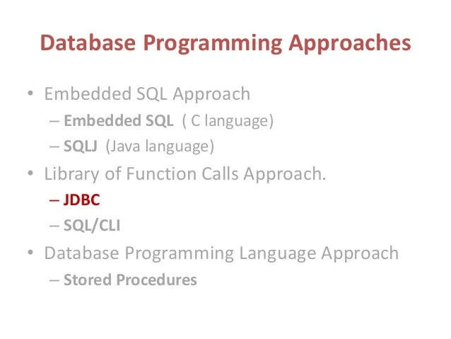 database programming in java jdbc