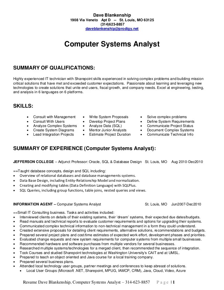 Business Systems Analyst Resume Samples Jobhero Dave Blankenship Computer Systems Analyst Long