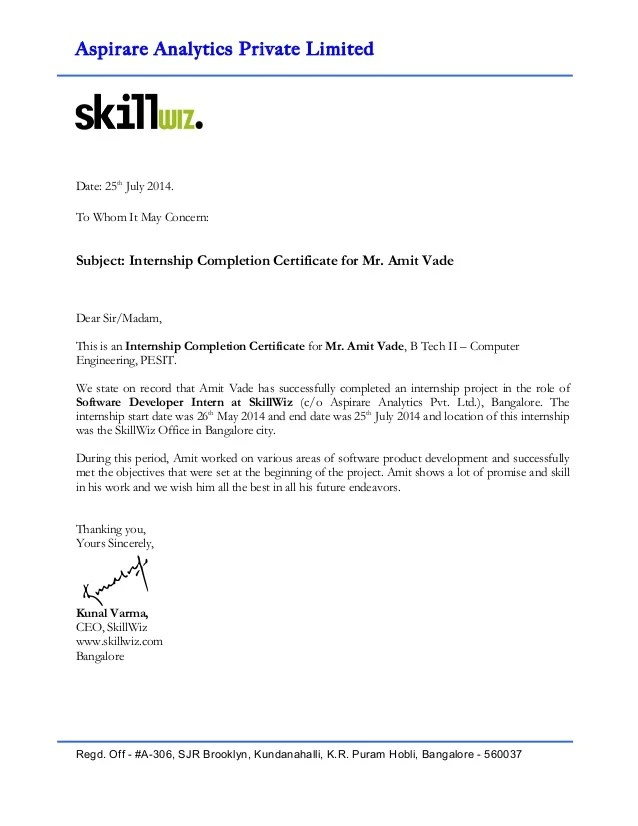 internship completion certificate format - Onwebioinnovate - building completion certificate sample