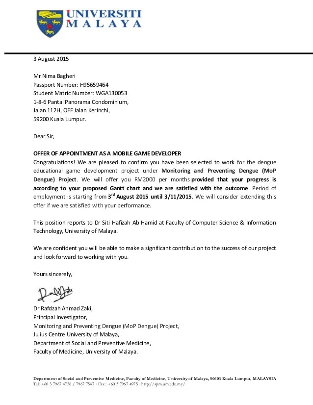 Sample Job Offer Letter In Malaysia | Resume Format For Primary ...