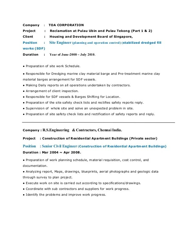 resume civil engineering - Onwebioinnovate - resume civil engineer