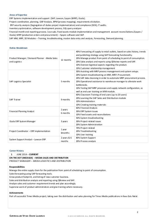 exemple cv demand planner