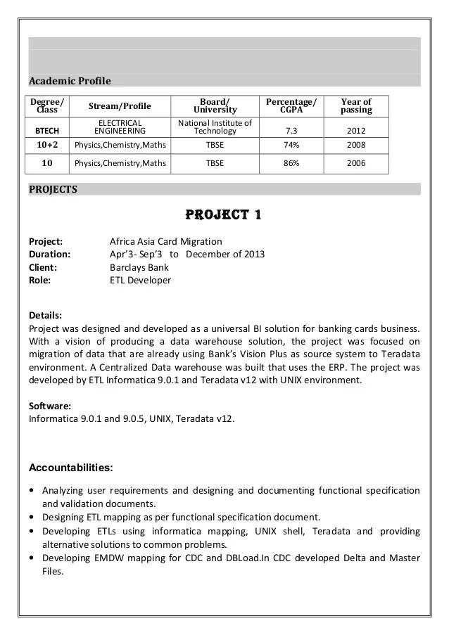Etl Developer Resume Samples Jobhero Informatica Data Modeling Resume Ebook Database