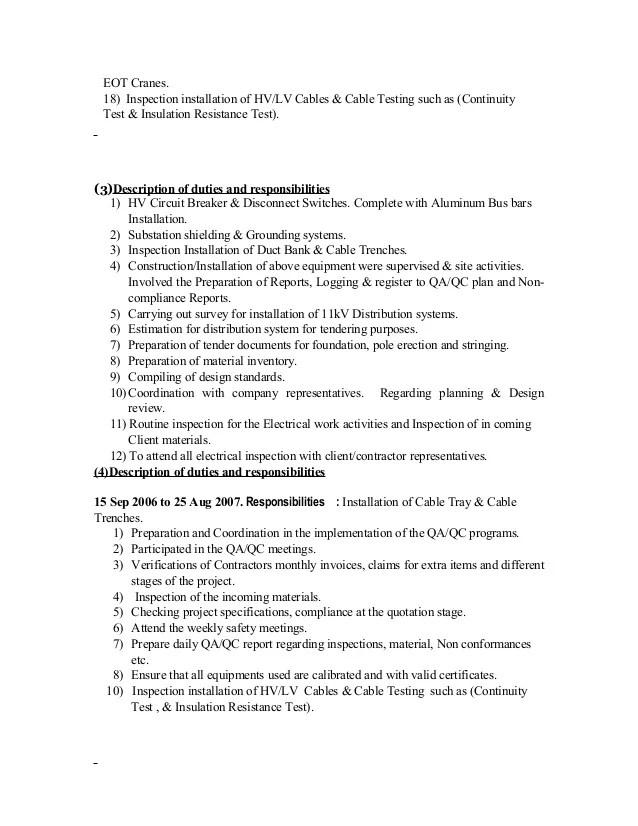 Submit Resume Nadia Jobs In The Uae Cv Electrical Qa Qc Engineer