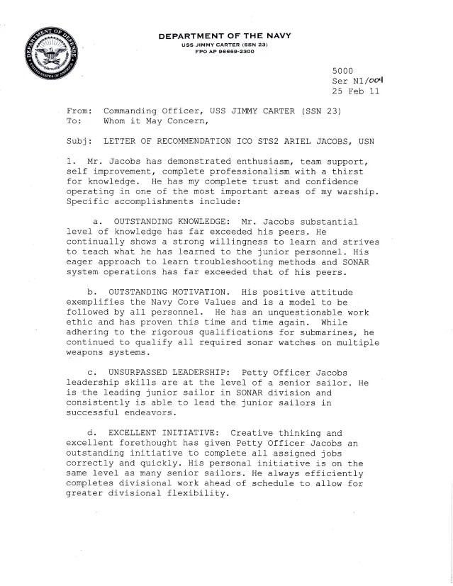 navy ocs letter of recommendation sample