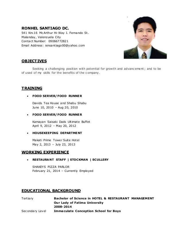 example of soft copy of resume