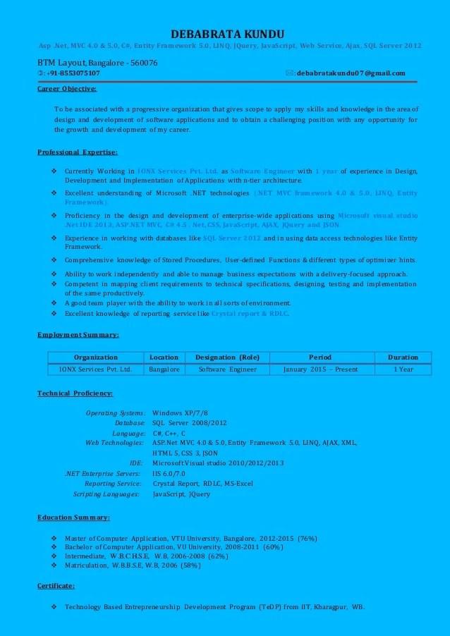 sample resume for net developer using entity framework