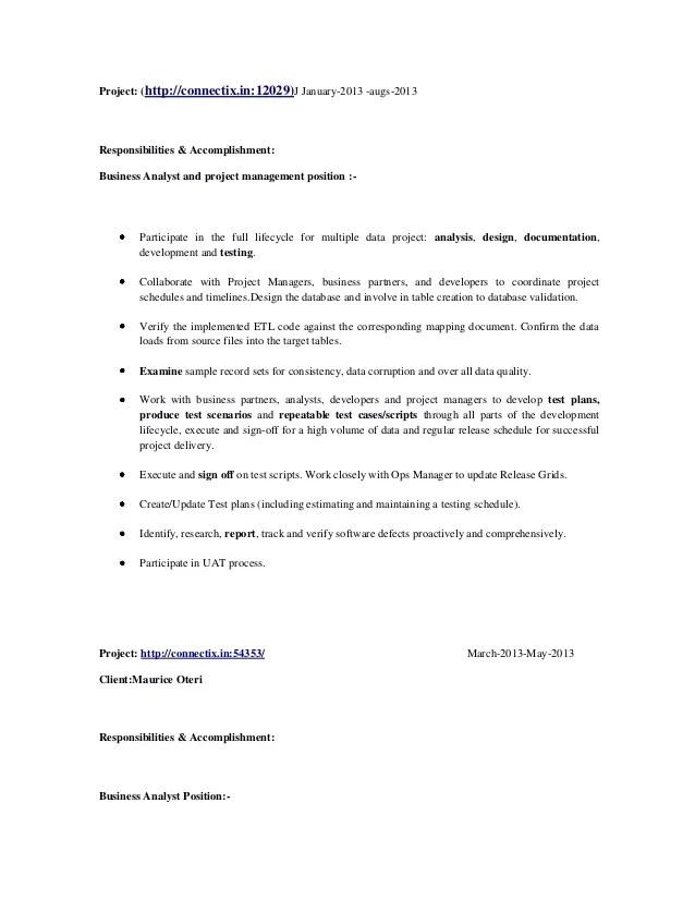 etl tool analyst sample resume