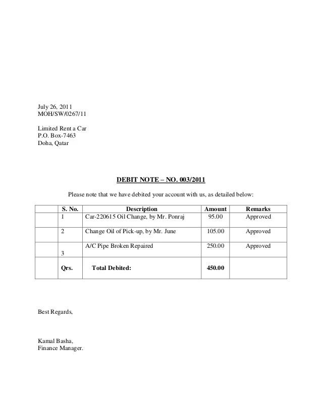 sample debit note - Maggilocustdesign - debit note letter