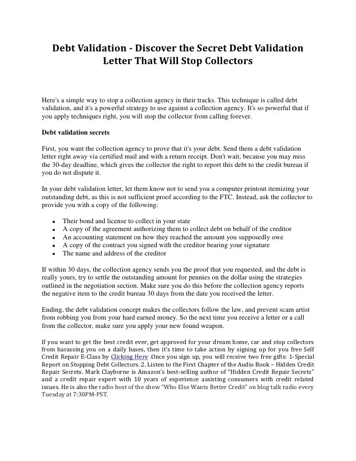 document collection letter discover the secret debt validation letter that will stop collectors