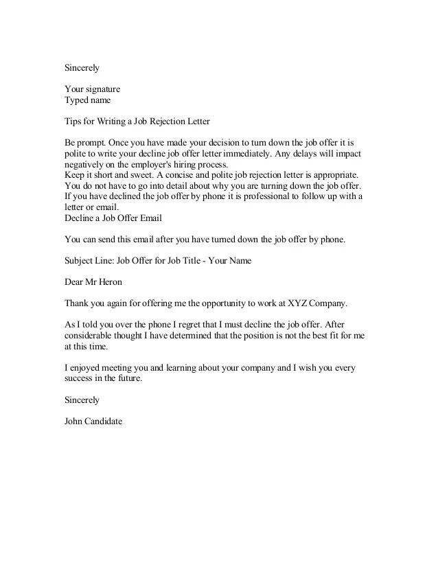 Decline An Offer Letter Example Good Resume Template