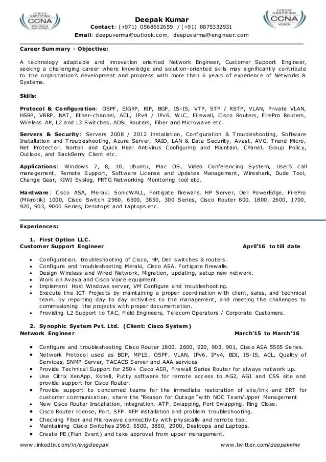 wireless engineer resume sample
