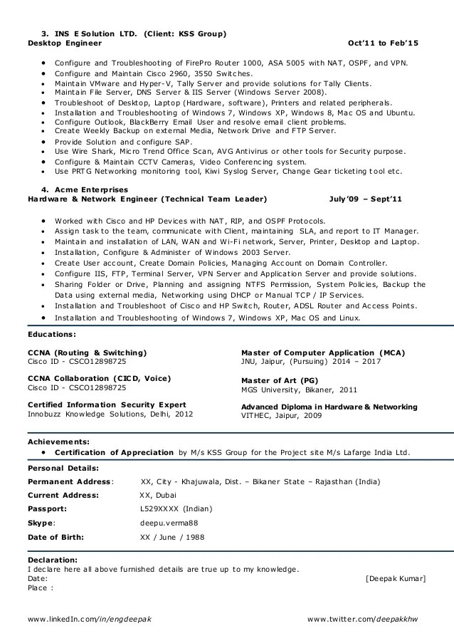 network engineer sample resume - Pinarkubkireklamowe