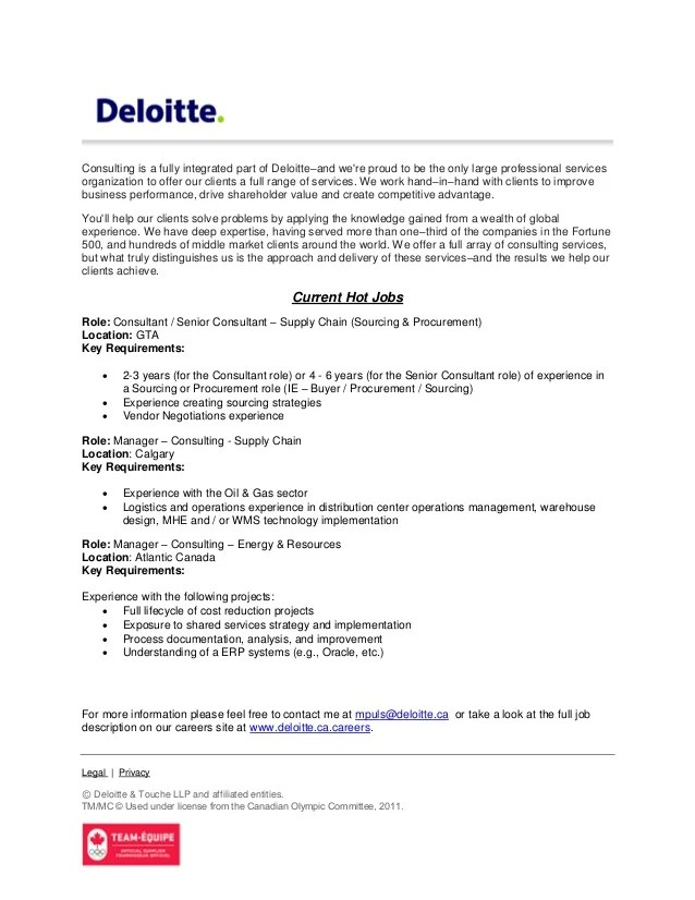 deloitte consulting resume sample