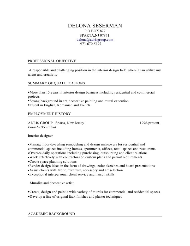 interior design resume objective - Vatozatozdevelopment
