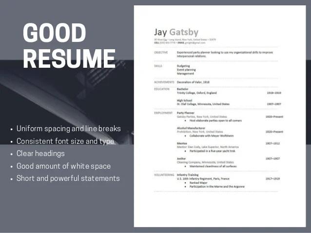 resume headings font size