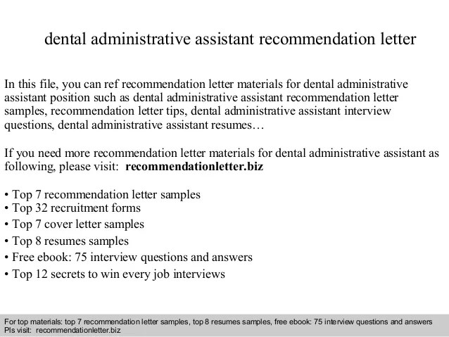 Dental School Requirements How To Become A Dentist Dental Administrative Assistant Recommendation Letter
