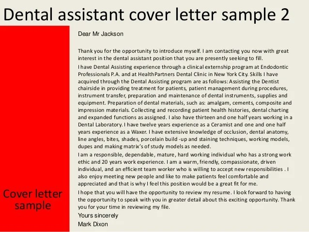 Sample Thank You Letter Career Services Network Dental Assistant Cover Letter
