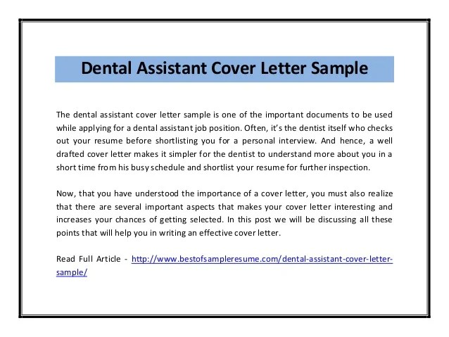 Entry Level Dental Assistant Cover Letter Example
